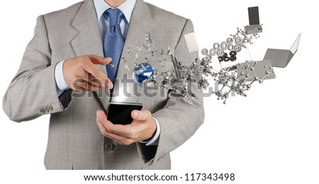 businessman hand using touch screen mobile phone as technology concept