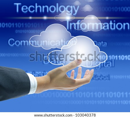 businessman hand with cloud computing concept