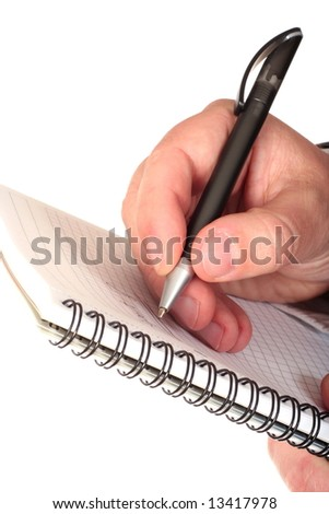 Businessman hand with pen and notepad close-up isolated