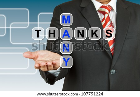 Businessman hand with text Many Thanks