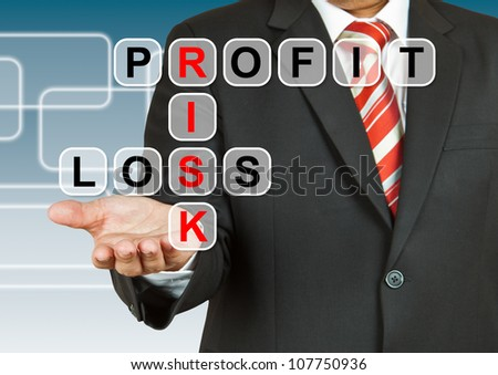 Businessman hand with text Profit, Risk, and Loss