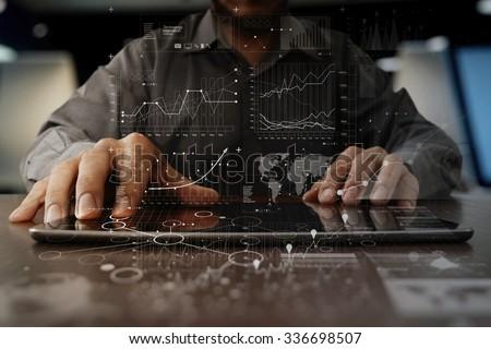 businessman hand working on...