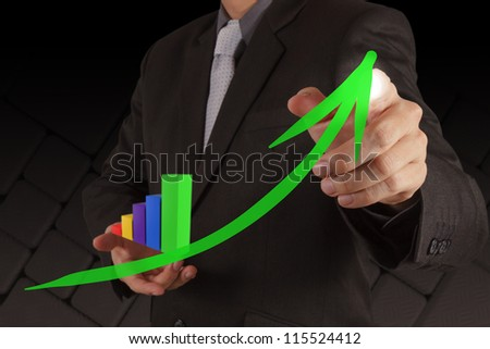 businessman hand working with new interface computer graph as concept