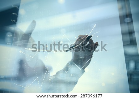 businessman hand working with...