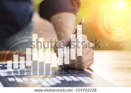 businessman hand working with new modern computer and business strategy as concept. Foto stock ©