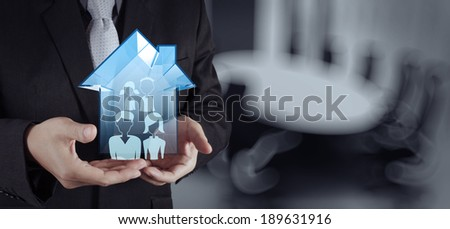 businessman hand working with new modern computer show social network structure as concept #189631916