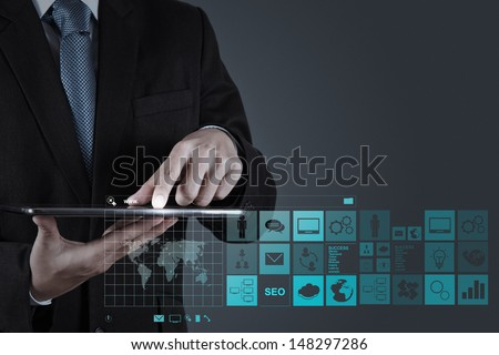 businessman hand working with www. written in search bar on modern computer interface