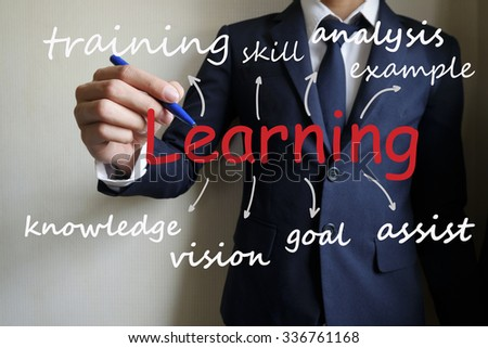 businessman hand writing business learning concept , business idea