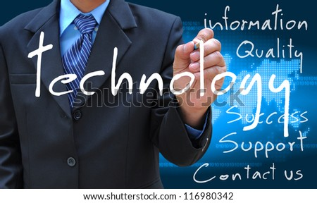 businessman hand writing technology