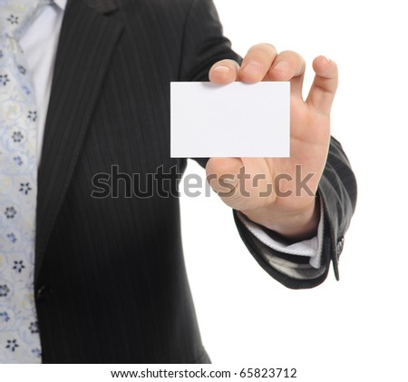 businessman handing a blank. Isolated on white background