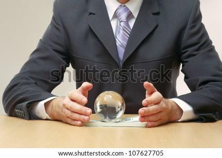 Businessman handing a dollar sign