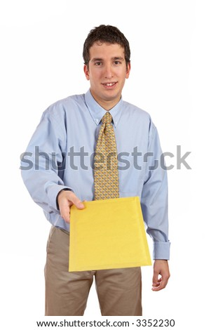 Businessman handing a envelope over a white background. Eyes on focus, envelope blurred