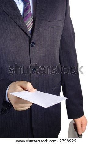 Businessman handing over a blank letter against white background