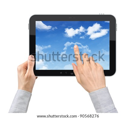 Businessman hands are holding and point on contemporary tablet pc with cloudscape on screen. Concept on cloud-computing theme. Isolated on white.