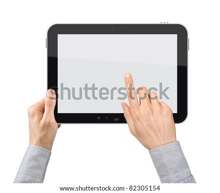 Businessman hands are holding and point on touch screen device. Isolated on white. #82305154