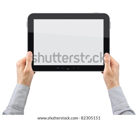 Businessman hands are holding the touch screen device. Isolated on white. - stock photo