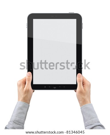 Businessman hands are holding the touch screen device. Vertical composition. Isolated on white.