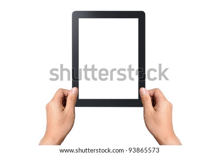 Businessman hands are holding the touch screen device. Vertical composition. Isolated on white - stock photo