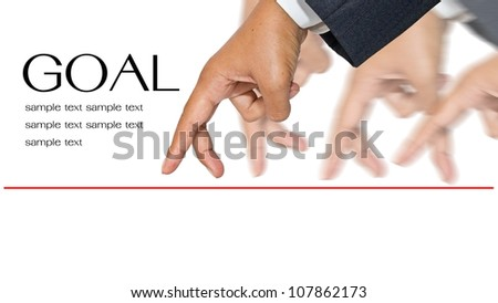 Businessman hands as finger walking for competition or leadership concept