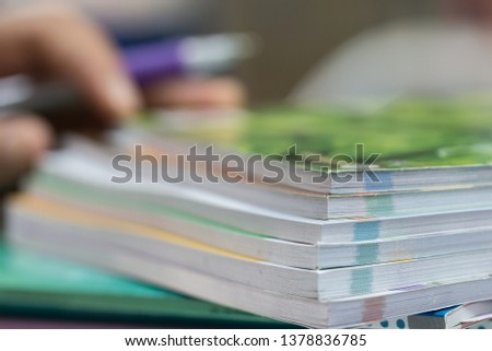 Businessman hands checking documents file paperwork financial market, searching information on work busy desk office. Piles of document achieves with pen for sigh. Business report  concept #1378836785