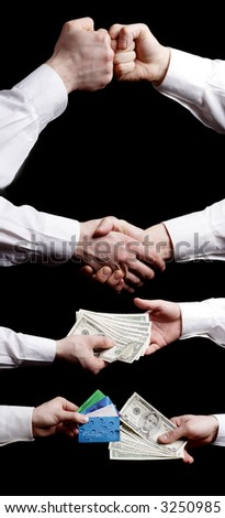 Businessman hands collection. Isolated on black.