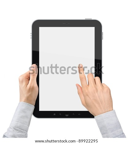 Businessman hands holding and touching on a blank digital tablet pc. Isolated on white.