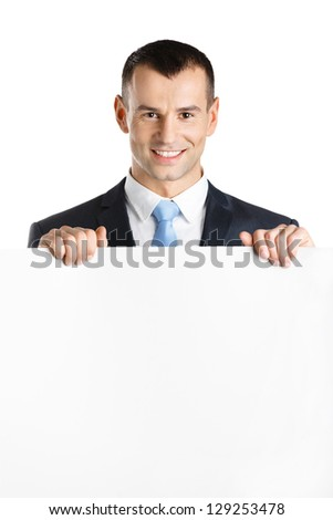 Businessman hands white paper copyspace for the text, isolated on white