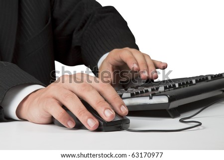businessman hands working on computer, touch mouse, typing keyboard, isolated on white background