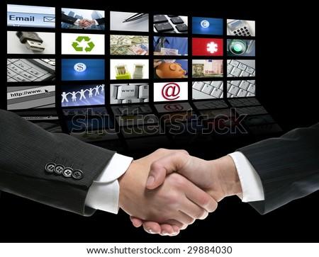 Businessman handshake over perspective screen wallpaper [Photo Illustration]