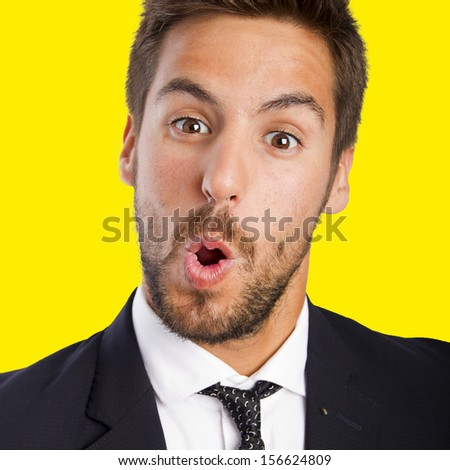 businessman happy and surprised