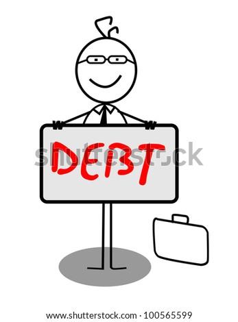 Businessman Happy Debt Banner