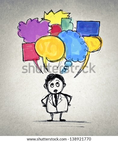 businessman has many thoughts