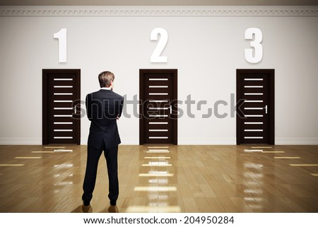 businessman has to choose between 3 options