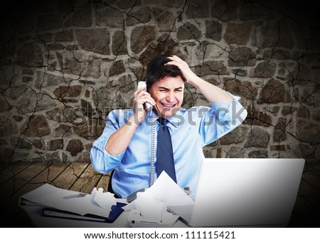 Businessman having a stress. Call phone problem.