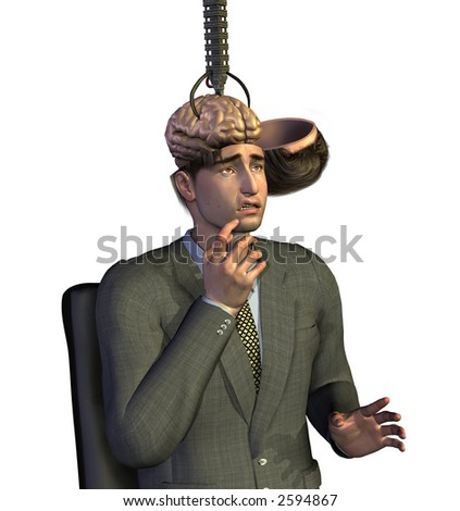 Businessman having his brain removed - 3D render.