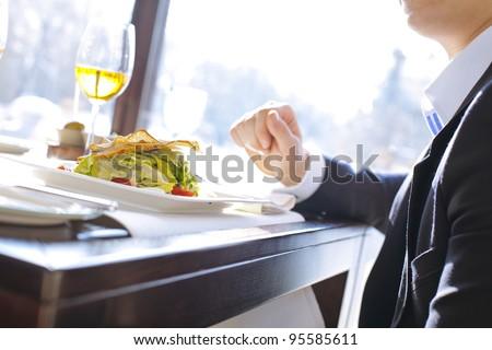 businessman having lunch in a restaurant