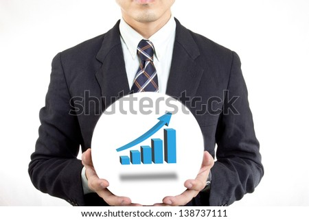 Businessman hold ball with his business in your hand