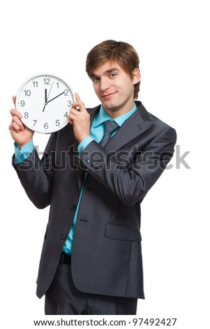 businessman hold clock, handsome young business man happy smile wear elegant suit and tie isolated over white background