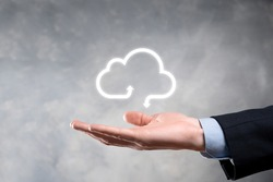 Businessman hold cloud icon.Cloud computing concept - connect smart phone to cloud. computing network information technologist with smart phone.Big data Concept