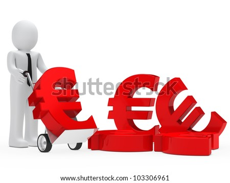 businessman hold hand truck with red euro