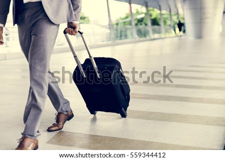 Businessman Hold Luggage Business Trip #559344412