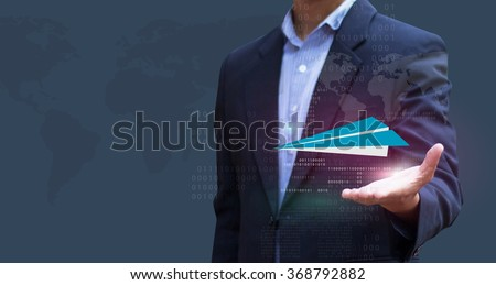 Businessman hold Paper Plane. Visions of Business Concept innovation