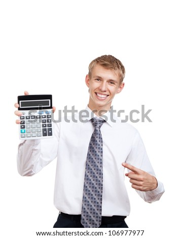 businessman hold show calculator point finger on it, handsome young business man standing smile looking at camera, wear elegant shirt and tie isolated over white background