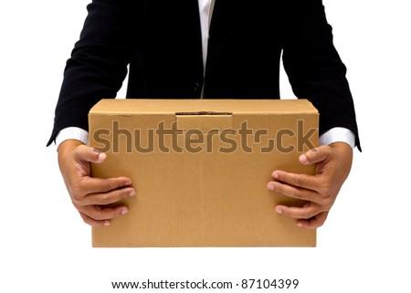 Businessman hold the cardboard box