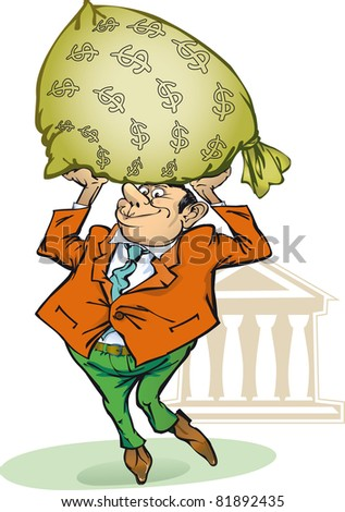businessman holding a bag of money from the bank. raster version
