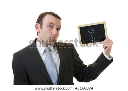businessman holding a blackboard with question mark