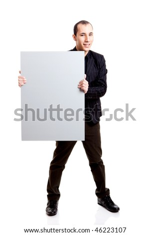 Businessman holding a blank billboard, isolated on white background