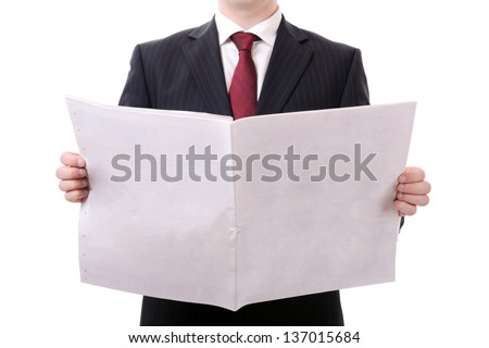 businessman holding a blank news paper isolated on white