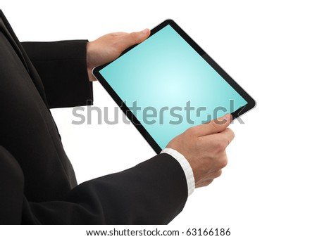 businessman holding a  blank touchpad pc, isolated on white background