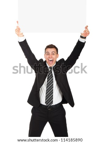 businessman holding a blank white card board, signboard, showing an empty bill board, handsome young business man happy smile, isolated over white background